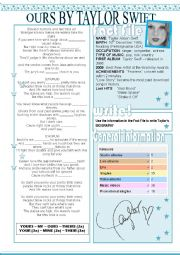 English Worksheet: Ours by Taylor Swift Worksheet