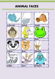 English Worksheet: ANIMAL FACES 2