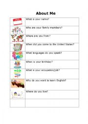 English Worksheet: About Me (for adults)