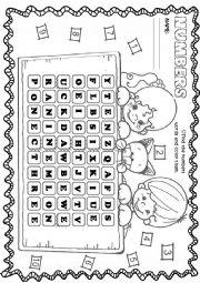 Crossword - numbers 1 to 10