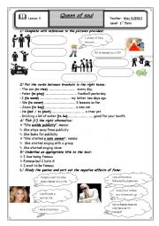 English Worksheet: lessoon 3: Queen of soul 1st form