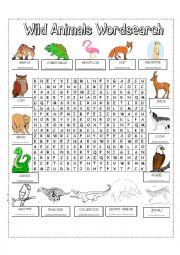 English Worksheet: WILD ANIMALS WORDSEARCH