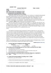 English Worksheet: test renewble energy