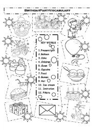 English Worksheet: Birthday Basic Vocabulary