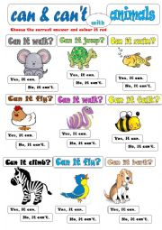 can can t with animals esl worksheet by byhngmz. Black Bedroom Furniture Sets. Home Design Ideas