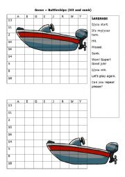 English Worksheet: battleship on number and alphabet