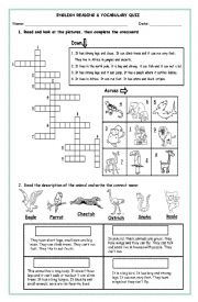 English Worksheet: Wild Animals Reading Workshop