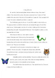 English Worksheet: A Day at the Zoo