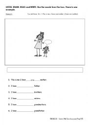 English Worksheet: LISTENING - Drawing the Family Members