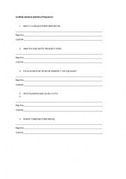 English Worksheet: Jumbled sentences - adverbs of frequency