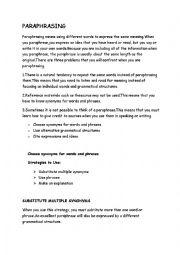 English Worksheet: Paraphrasing