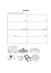 English Worksheet: Desserts