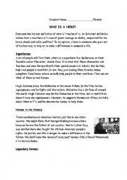 English Worksheet: Heroes-Types of Heroes