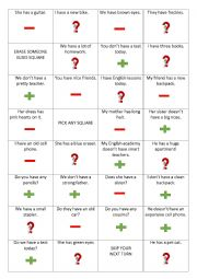 English worksheet: Have Has Coin Toss Game