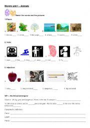 English Worksheet: MOVERS Unit 1 vocabulary