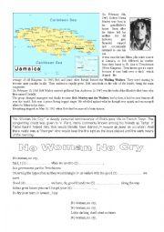 English Worksheet: Biographical Writing - Bob Marley