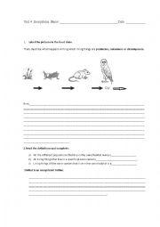 English Worksheet: Ecosystems test 4th grade