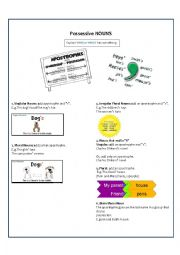 English Worksheet: Possessive with nouns