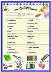English Worksheet: School things : guessing game