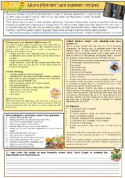 English Worksheet: Nuno Mendes� late summer  recipes