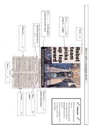 Write a newspaper article worksheet
