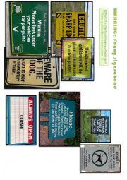 English Worksheet: Funny signs