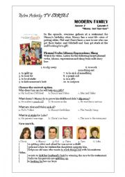 Modern Family Worksheet - Childhood Memories, Family Events & Birthdays