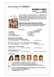 Modern Family Worksheet - Childhood Memories, Family Events & Birthdays