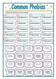 English Worksheet: COMMON PHOBIAS with key