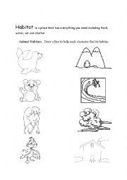 English Worksheet: Habitats