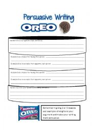 English Worksheet: Persuasive Writing Oreo