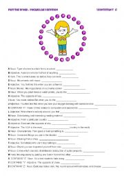 English Worksheet: PASS THE WORD 1 - Vocabulary revision game