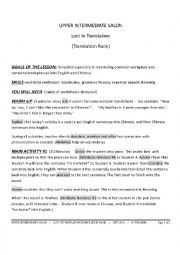 English Worksheet: UPPER INTERMEDIATE SALON - TRANSLATION RACE