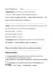 English worksheet: Speech Writing Process