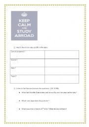 English Worksheet: Michelle Obama : an interview on studying abroad ( video)