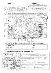 English Worksheet: Ecosystems Part 1