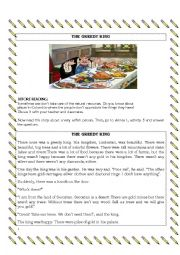 English Worksheet: The greedy king - There was there were