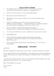 English Worksheet: Penpal letter