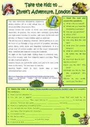 English Worksheet: Take the kids to ... Shrek´s adventure, London
