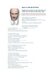 English Worksheet: Against all odds (by Phil Collins)