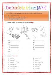 English Worksheet: Indefinite Articles