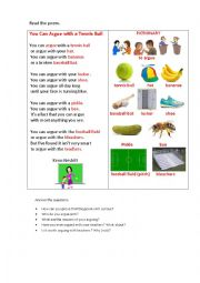 English Worksheet: YOU CAN ARGUE WITH A TENNIS BALL (a poem + questions)