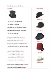 English Worksheet: TOP HAT (a poem + questions)