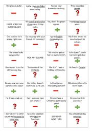English worksheet: Present Simple Coin Toss Game