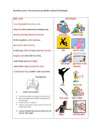 English Worksheet: BAD LUCK (a poem + speaking/writing tasks)