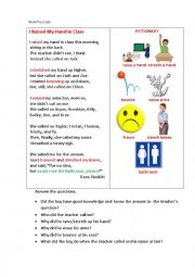 English Worksheet: I RAISED MY HAND IN CLASS (a poem + question)