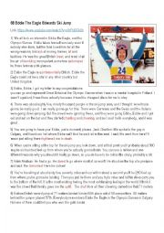 English Worksheet: Eddie the Eagle, Ski Jumper