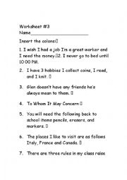 English Worksheet: Colon
