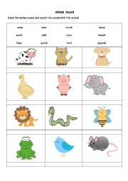 English Worksheet: Animal Sound Worksheet