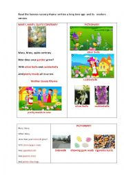 English Worksheet: MARY, MARY, QUITE CONTRARY (2 versions of the poem + questions)